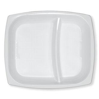 Piatti fondi rettangolari 18x21 cm 2 scomparti bianchi PS (Polistirolo)