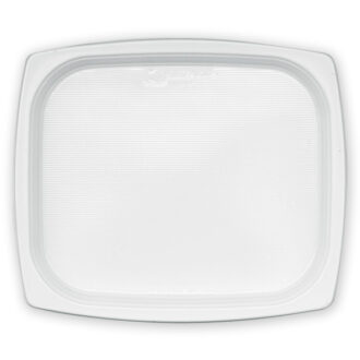 Piatti piani rettangolari 18x21 cm bianchi PS (conf. 50 pz)
